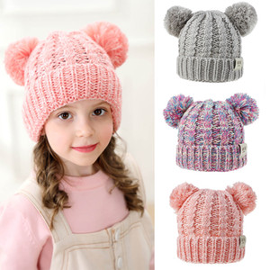 Knit Crochet Beanies Hats Girls Boys Winter Warm Pompom With 2 Balls Caps 13 Colors Knitted Hat 07