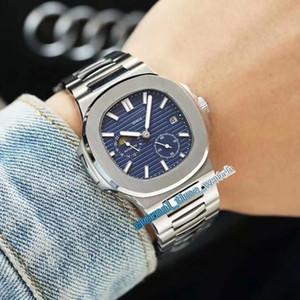 Nueva versión de alta Nautilus 5712 / 1A-001 Negro Dial Caja de acero azul mecánico automático de fase de la luna del reloj para hombre 316L venda de acero relojes deportivos