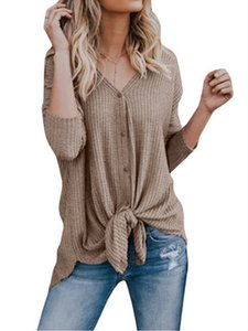 2019 new Trend New Long Sleeve V-Collar Irregular Thin Knitted Women in Europe and America in Autumn