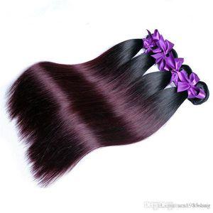 100g / piece 3pcs / lot 1B 99J Gray Burg RED ombre color brazilian virgin remy hair weave