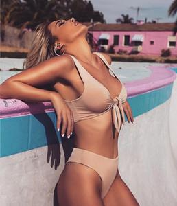 2019 Novas Mulheres Maiôs Biquíni Nó No Peito Sexy Cintura Alta Verão Maiôs Estilo Praia