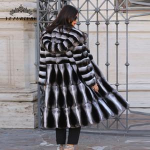 Vente en gros-chinchilla réel manteau de fourrure manteau de fourrure véritable Rex Veste aux Jackets chaud naturel réel de long