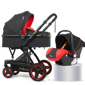 Высокая Landscape Детская коляска 3 в 1 Hot Mom Коляска для путешествий коляска Реверсивный младенца вагонетки Розовый с Автокресло