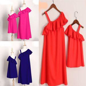 MotherDaughter Boho Giyim Ebeveyn-çocuk Mini Elbise Aile Eşleştirme Kıyafetler
