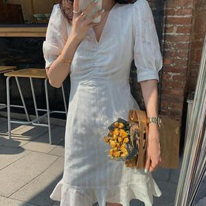 Tatlı Yaz V Yaka tarihi Elbise Denizkızı Trompet Midi Elbiseler Robe Femme Vestiods Moda Pileli Elbise
