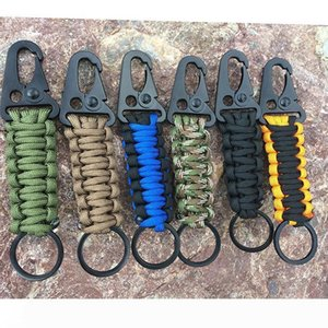 EDC Paracord Rope Keychain Outdoor Camping Survival Kit Military Parachute Cord Emergency Knot Key Chain Ring Camping Carabiner SC146