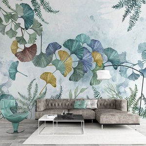 Photo Wallpaper Modern Minimalist Plant Ginkgo Leaf Murals Living Room TV Sofa Bedroom Home Decor Wall Painting Papel De Parede