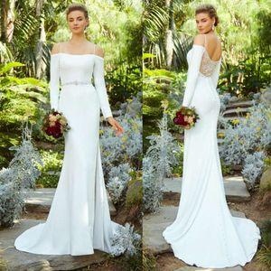 Long Sleeve sereia vestidos de noiva Kitty Chen Spaghetti Side Dividir vestidos de noiva Sexy Lace Voltar Plus Size vestido de casamento