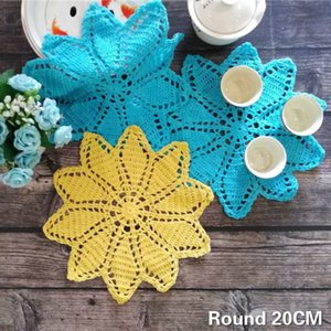 20CM Round Vintage Cotton Dining Table Mat Crochet Flowers Wedding Lace Doily Mantel Individual Placemats For Kitchen Table