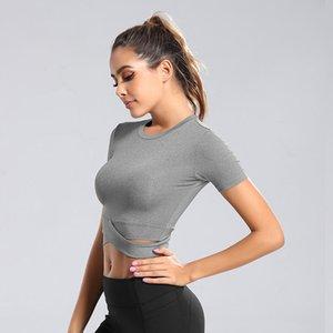 das mulheres Sports Magro de secagem rápida T-shirt Fitness Wear Yoga Correndo Top manga curta