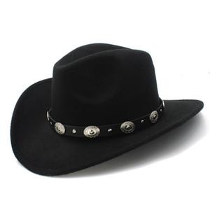 Lã Womem Homens Ocidental Cowboy Hat Com Wide Brim Cinto Do Punk Cowgirl Jazz Cap Com Toca de Couro Sombrero Cavalheiro Cap 23