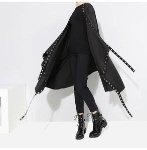 20190904 Black windbreaker waist-over-knee jacket