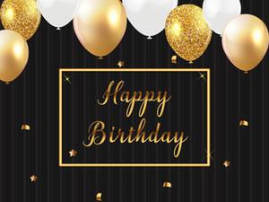 Золотые белые воздушные шары и конфетти виниловые фотографии фонов черный фото стенд фоны для Happy Birthday Party Studio реквизит