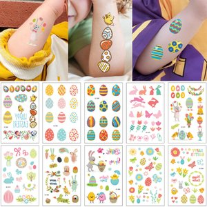Easter Tattoo Sticker Cartoon Rabbit Colorful Eggs Party Favor Gifts Kids Waterproof Temporary Tattoo Body Art Face Arm Accessories Holidays