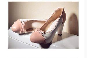 2020 Spring and Autumn with New style fashion High heel Coarse heel round head waterproof table bowknot Women's shoes@MQWBH616