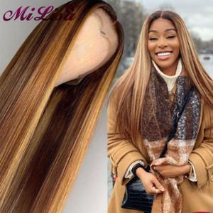 Ombre Highlight Human парик Браун Honey Blonde Цветные 13x6 фронт шнурок парики для чернокожих женщин Remy прямого 13x4 Фронтальной парик