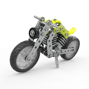 Boy Harley motorcycle DIY alloy building block toy children adult interactive assembly model