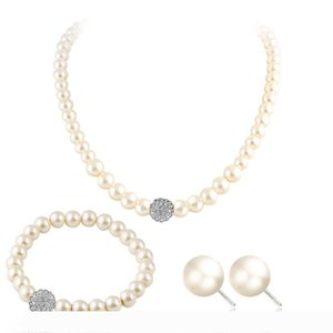 New Fashion Bridal Jewelry Sets Simulated Pearl Wedding Earrings Crystal Necklace Party Beads Bracelet Accessories Gift