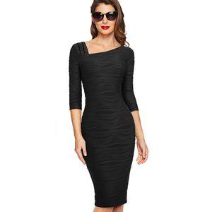 Autunno Donna Solid colore vestito casuale Ufficio Affari Elegante Tre quarti Spedizione manica aderente lavoro del vestito libera
