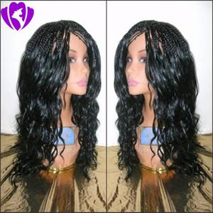 Livraison gratuite synthétique avant de dentelle perruque de boîte Tressé Tresses perruque pour femme noire Curly Fin bébé cheveux haut de fibre de température