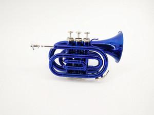 Top Qualität Blue Nickel Gold Taschentrompete B-Flat Horn Große Glocke 2-Mundstück mit freiem Verschiffen des Falles