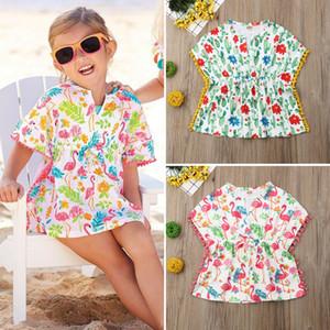 Малыш Дети Девочки CottonLinen платье пляж Sundress Купальники Cover Up