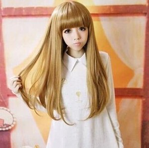 song wig.00960 New Fashion Women Girl Gold Curly Long Cosplay Party Full Wigs free shipping