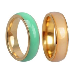 Amour Anneaux pour Femmes Hommes Couples Zircon titane acier avec Jade large de 6 mm Taille 7-11 anneaux de mariage