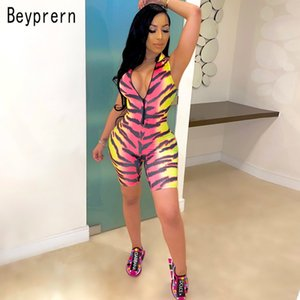 Beyprern New Chic Tiger Print Rompers Summer Womens Zipper Front Printed Cute Short Jumpsuit Macacao Feminino Club Overalls T200704