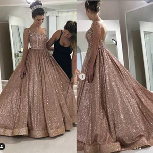 Rose Gold Sexy 2019 Africano Prom Dresses frisados Cristais Backless lantejoulas vestidos de noite Sparkly formal do partido vestido Homecoming