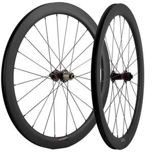 / QR 꼬치 스루 700C 카본 휠 세트 50mm 깊이 25mm 폭 UD 매트 클린 처 디스크 브레이크 도로 자전거 자전거 바퀴 차축