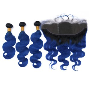Dark Roots Body Wave 1B Azul 3Bundles con encaje Frontal Azul oscuro Oreja A Oreja Frontal con extensiones de cabello Ombre