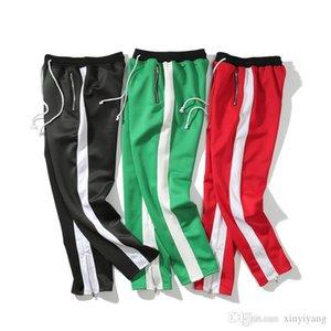 Americano europeo Colorblock Zipper Tempo libero Cotone Pantaloni Justin Bieber Side Zipper Casual donna Pantaloni felpa da uomo pantaloni sottili