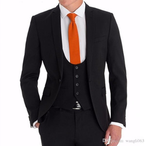 2018 Black Business Party Men Suits for Groom Wear Notched Lapel Three Piece Custom Made Wedding Tuxedos (Jacket + Pants + Vest)