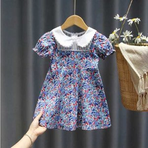 Mihkalev Baby Girl Lolita Style Party Dresses Turn Down Collar Kids 2020 Summer Dresses For Girls Floral Tutu Dress Costume