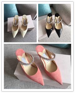 vente chaude Mesdames cuir verni noir avec Mulets cristal Bracelet en cuir véritable 6.5cm Kitten glissement du talon sur les pompes Pointu Stiletto Heel Sandal