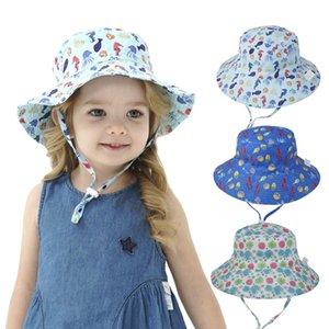 Las niñas niños sombreros de la playa del niño del bebé impreso historieta Sunhat niños transpirable de secado rápido Pescador sombrero del bebé del visera sombreros 16 colores 6M-8T 060522