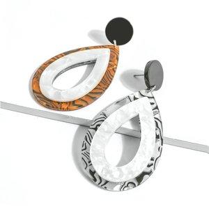 New Acetic Acid Boucles d'oreilles à deux couleurs gouttes d'eau de la mode européenne américain Acrylique Boucles d'oreilles pour Accessoires Femmes Charm