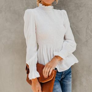 2020 Nueva otoño elegante de la linterna de la manga tapas de las mujeres y Ocio Oficina blusas de cuello alto plisada del volante camisas