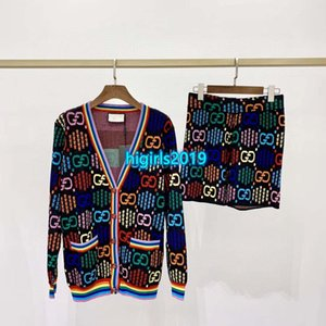 alta mulheres finais menina camisola de malha jaqueta de arco-íris de bloqueio de uma única letra peito manga longa calções casaco de lã de moda da calça malhas projeto