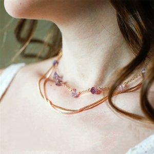 Granos al por mayor para Abalorios Capas Collar Semiprecioso Piedra Púrpura Encanto Gargantilla Collar de Estilo 2018 Joyería