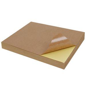 100 folhas kraft adesivo de papel de transferência de toner de calor A4 autoadesivo Brown DIY impressão cópia etiqueta de papel de etiqueta para impressora a jacto de tinta a laser
