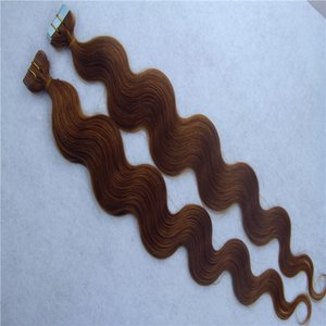 "Dark Brown Color Tape In Human Hair Extensions Body Wave Brazilian 10""-34"" Skin Weft Hair Extensions 1Pcs 100G"