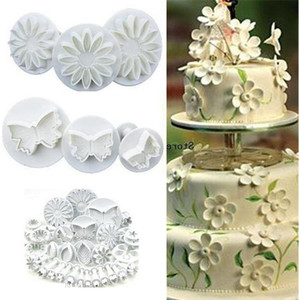 Nuovi 10sets fiore foglio forme 33pcs Sugarcraft Stantuffi taglierine Pin di rotolamento della torta che decora gli attrezzi biscotti stampi