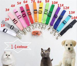 Haustier Hund Katze Auto Sicherheitsgurt Verstellbarer Kabelbaum Sicherheitsgurt Bleileine Für kleine mittelgroße Hunde Reise Clip Pet Supplies 14 Farbe