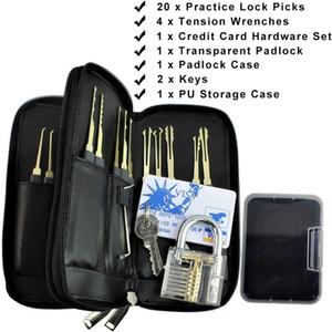 Pratique transparente Padlock + 24 pièces en acier inoxydable avec verrouillage Choisissez Set PU Sac + carte de crédit Hardware Outils de serrurerie (Gray)