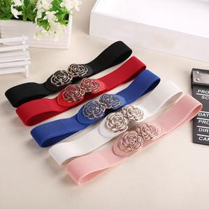 Rétro nouvelle mode des femmes large ceinture vintage métal fleur élastique extensible Boucle Waistband filles ami meilleur cadeau Hot