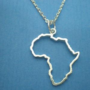 Esquema 5PCS africana del mapa de África del Sur Collares Continente Egipto Kenia Nigeria Etiopía perfil del país encanto de la cadena colgante de joyería de las mujeres