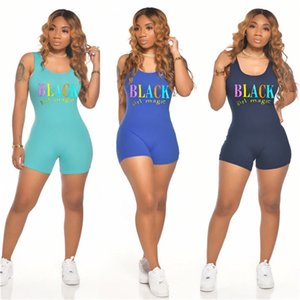 New Women Summer Sleeveless Shorts Leggings Brand Letter Designer Jumpsuits Rompers Low Neck One Piece Shorts Fashion Bodysuits S-2XL D6202