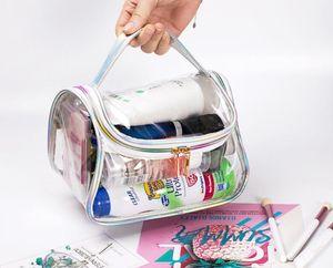 DHL50pcs Tolietry Kits Frauen PVC Transparent Multifunktionale wasserdichte Reise Strand Cosmetic Bag